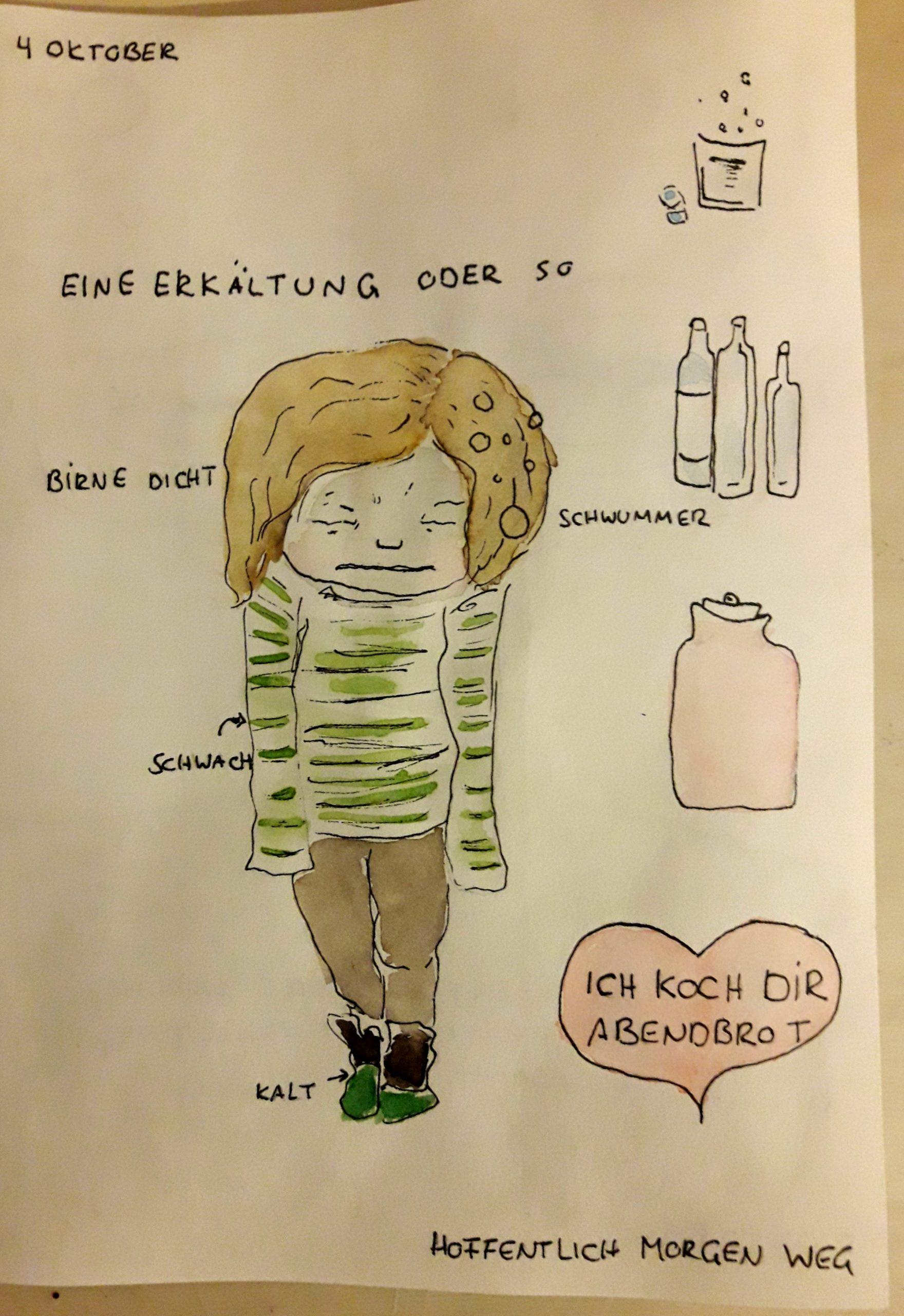 Verknörgelte Hannah-Zeichnung mit Erkältungsgedunsel