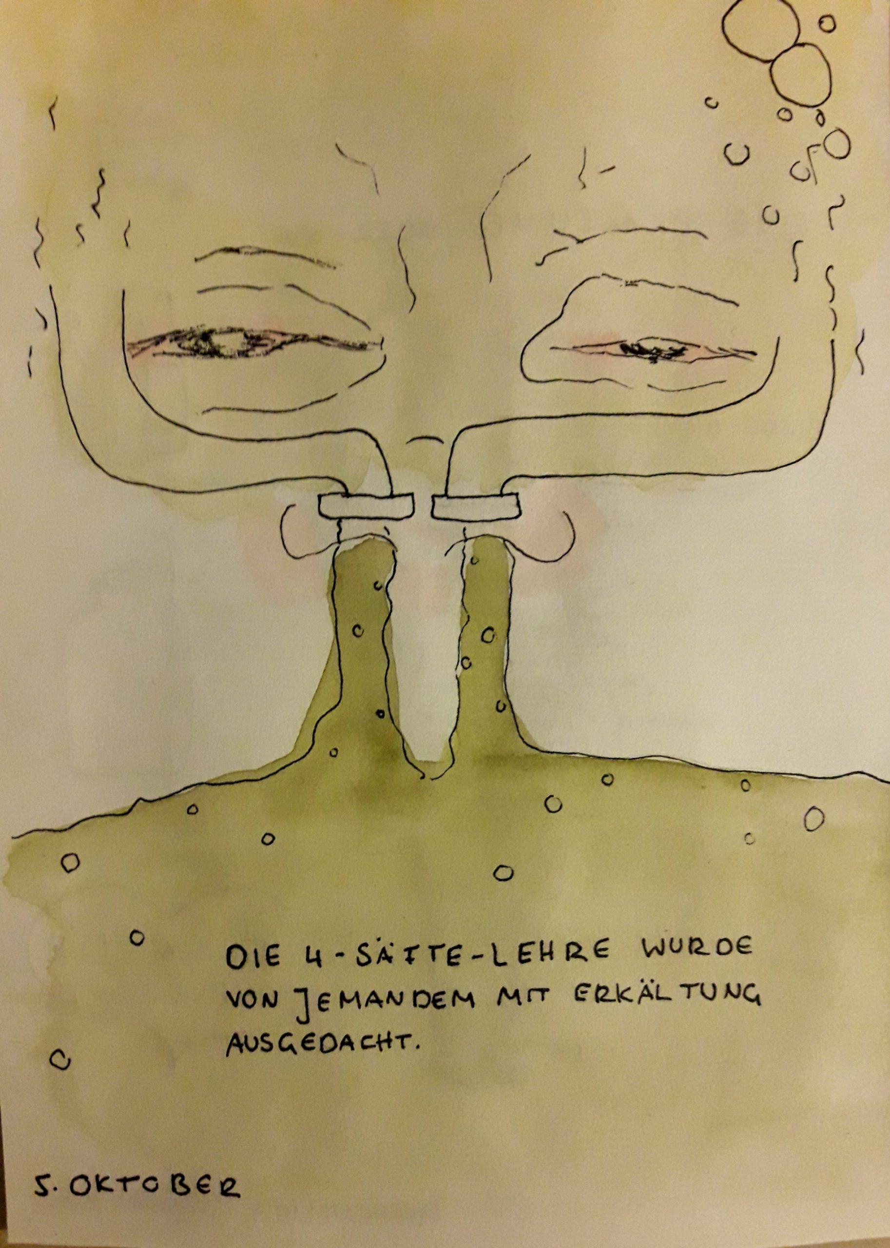 Ein Paar Augen und eine Nase aus der zwei Rohre aus denen grüner Schleim kommt. Darunter: